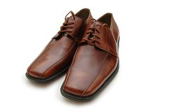Brown male shoes isolated  Royalty Free Stock Image