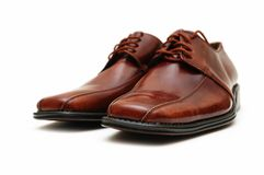 Brown male shoes isolated Royalty Free Stock Photo