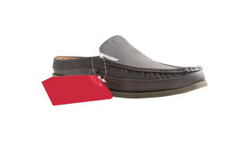 Brown male shoes. Of sale on white Stock Photo