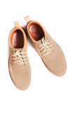 Brown man's fashion shoes isolated. On white background Royalty Free Stock Images