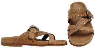 Brown man's sandals. Isolated on white background Stock Photos