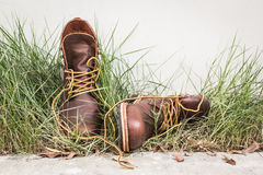 Brown man's shoes in grass Royalty Free Stock Images