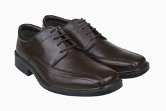 Brown man's shoes. Brown men's leather shoes isolate Royalty Free Stock Photos