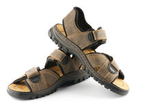 Brown man's Shoes Sandals with Velcro fastener Stock Image
