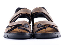 Brown man's Shoes Sandals with Velcro fastener. Isolated on white background royalty free stock image