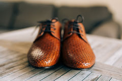 Brown man shoes with laces on wooden background. Brown man`s shoes with laces on a wooden background Stock Photo