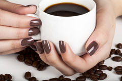 Brown manicure. Royalty Free Stock Photos
