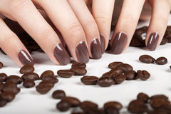 Brown manicure. Stock Photography