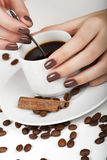 Brown manicure. Stock Images
