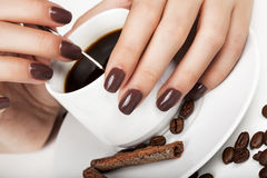 Brown manicure. Stock Image
