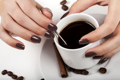 Brown manicure. Stock Photo