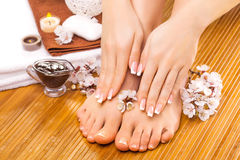 Brown manicure and pedicure on the bamboo Royalty Free Stock Photo