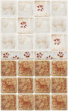 Brown marble tiles with floral decorations Royalty Free Stock Image