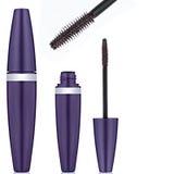 Brown mascara, false eyelashes Stock Image