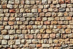 Brown masonry stone wall Spain traditiona Stock Photo