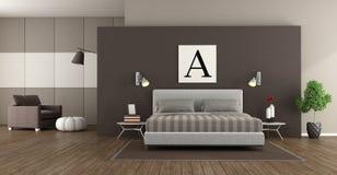 Modern master bedroom Stock Images