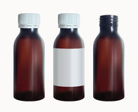 Brown medical bottle with a lable. Vial glass template. Isolated vector. Stock Image