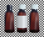 Brown medical bottle with a lable. Vial transparent glass template.  vector. Stock Photo