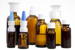 Brown medical bottles Royalty Free Stock Photography