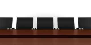 Brown meeting table with black chairs isolated. On white stock illustration