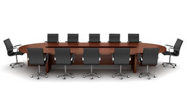 Brown meeting table with black chairs isolated. On white vector illustration