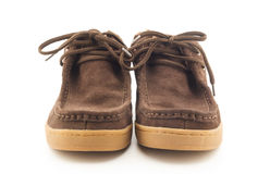 Brown men boots isolated on white background Royalty Free Stock Photography