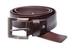 Brown men leather belt isolated on white Royalty Free Stock Photo