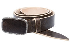 Brown men leather belt isolated on white Stock Photos