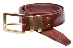 Brown men leather belt isolated on white Royalty Free Stock Photography