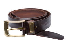 Brown men leather belt isolated on white Stock Images