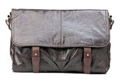 Brown men messenger bag over white Stock Image