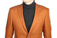 Brown men's blazer, isolated on white background. Royalty Free Stock Image