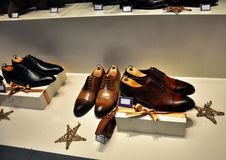 Brown men's leather shoes Royalty Free Stock Photos