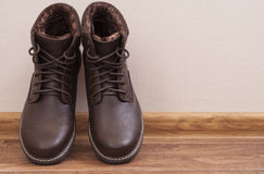 Brown men`s shoes Royalty Free Stock Photo