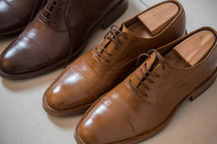Brown men's shoes and shoe stratchers Stock Photo