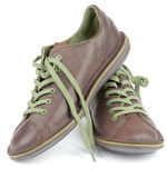 Brown Men Shoes. Brown Leather Men Shoes with Green Shoelaces isolated on white background Stock Image