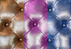 Brown, menchii i błękita tapicerowania kanapy rzemienny tło, obrazy stock