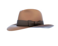 Brown mens hat with a bow isolated on white background. Stock Images