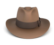 Brown mens hat  on white Stock Photos