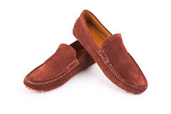 Brown mens suede leather loafers pair isolated on white backgrou Royalty Free Stock Photo