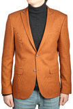Brown mens suit jacket, male orange-brown blazer with patch. Stock Images