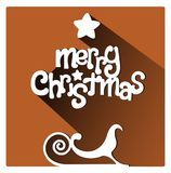 Brown Merry Christmas greetings card with sleigh and star. Merry Christmas flat lettering design greetings card. Long Shadow on orange warm background, christmas stock illustration