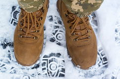 Brown military boots Stock Images