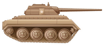 A brown military tank. Illustration of a brown military tank on a white background Royalty Free Stock Photography