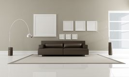 Brown minimalist interior stock illustration