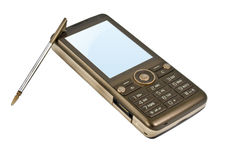 Brown Mobile Phone with Stylus Royalty Free Stock Photo