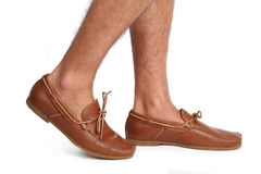 Brown moccasins shoes Royalty Free Stock Photography