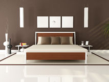 Brown modern bedroom Royalty Free Stock Photography