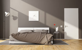 Brown modern bedroom Royalty Free Stock Image