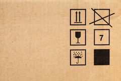 Brown modern cardboard with signs texture Royalty Free Stock Image